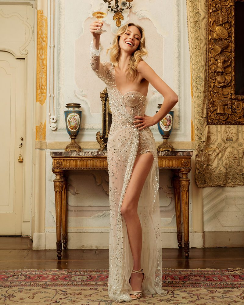 Shimmery slit gown from Berta's 2022 bridal collection
