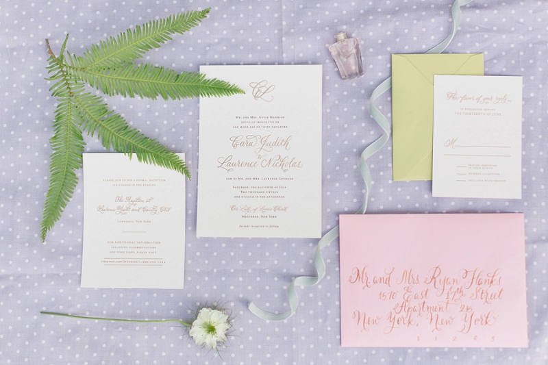 Wedding invitations with simple pastel colours