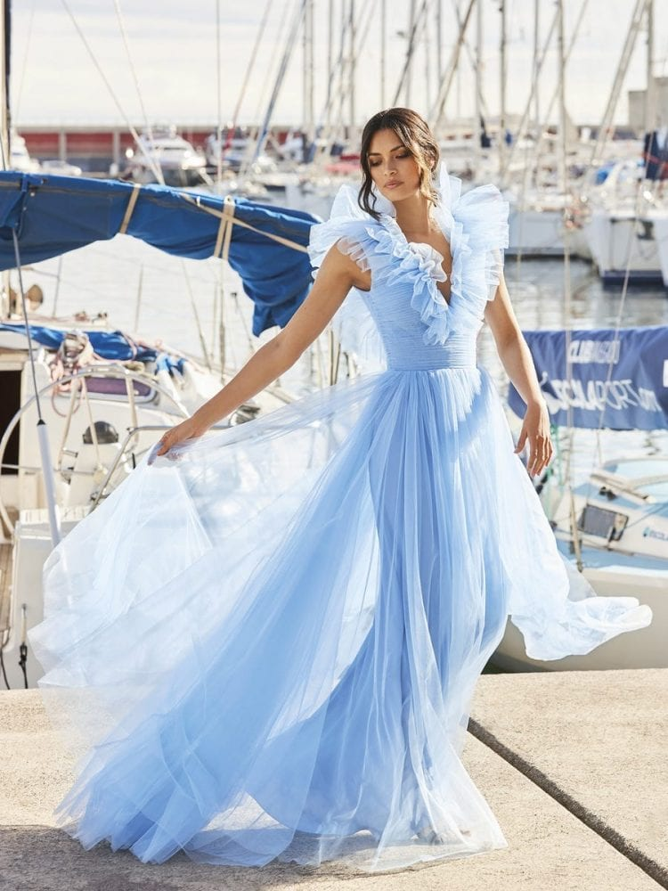 Sky blue tulle dress from the Pronovias cocktail collection