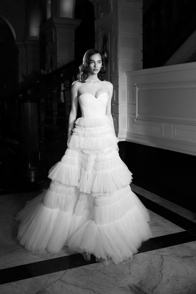 Smocked tulle gown by Vicktor&Rolf