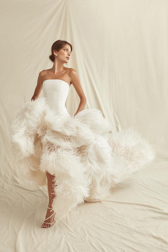 Strapless feather gown from Oscar de la Renta
