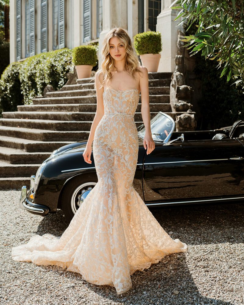 Strapless gown from Berta's 2022 bridal collection