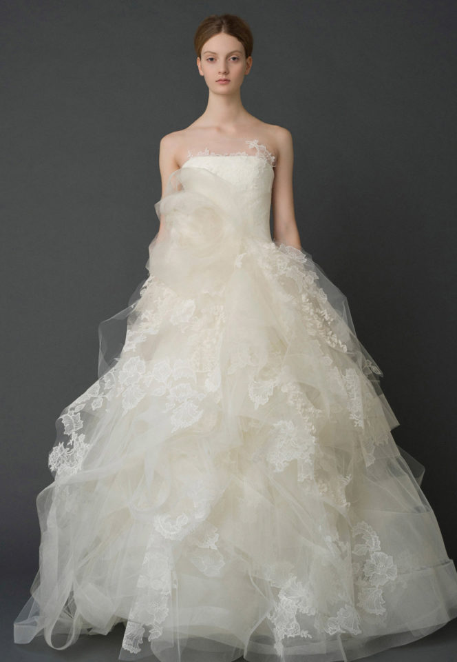 Strapless lace and organza ball gown from Vera Wang's Iconic collection