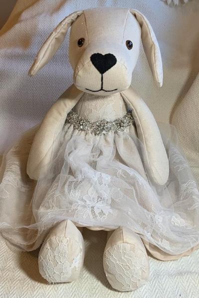 Teddy bear made of wedding dress fabric