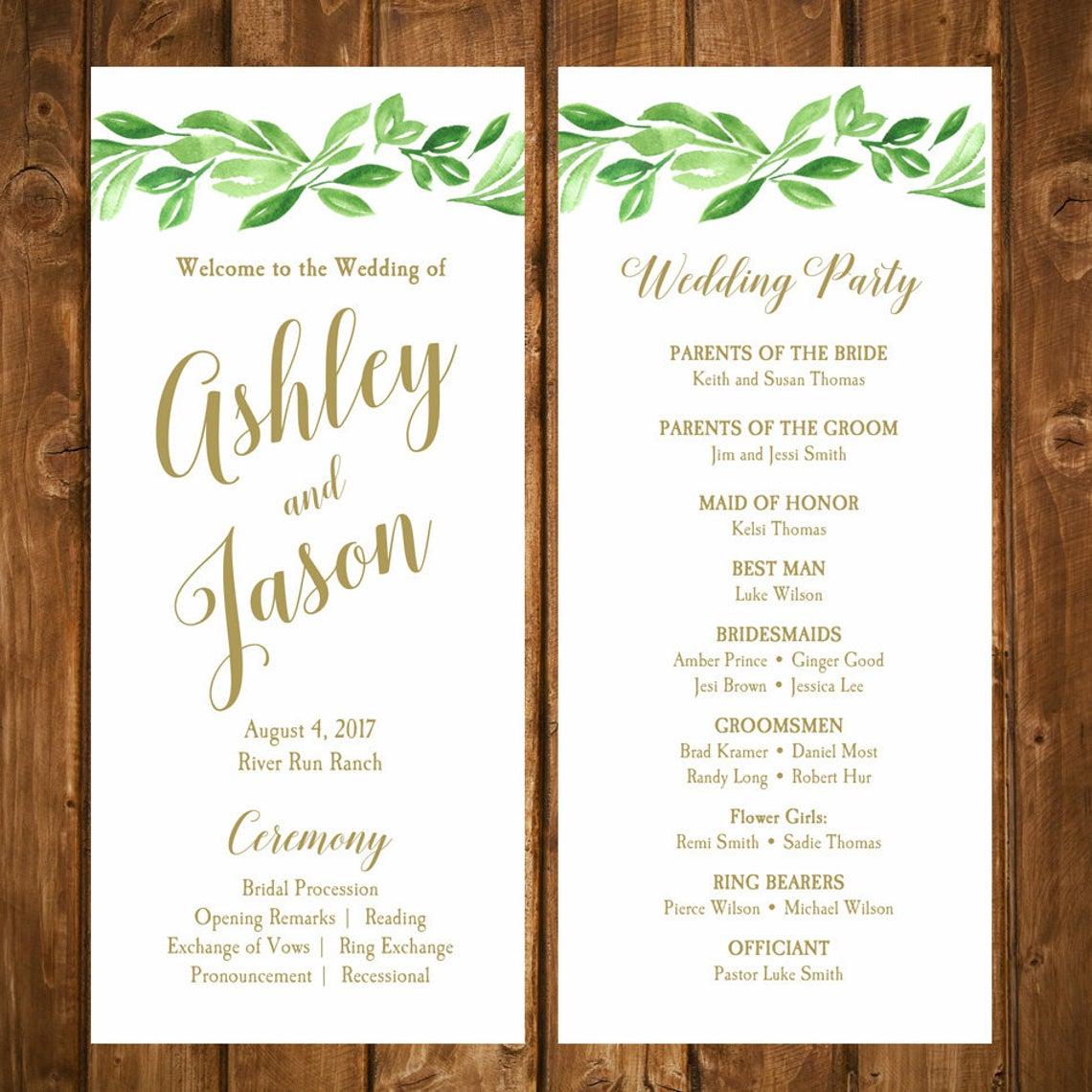 wedding program template