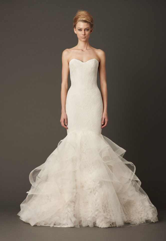 Tulip chantilly lace mermaid gown from Vera Wang's Iconic collection