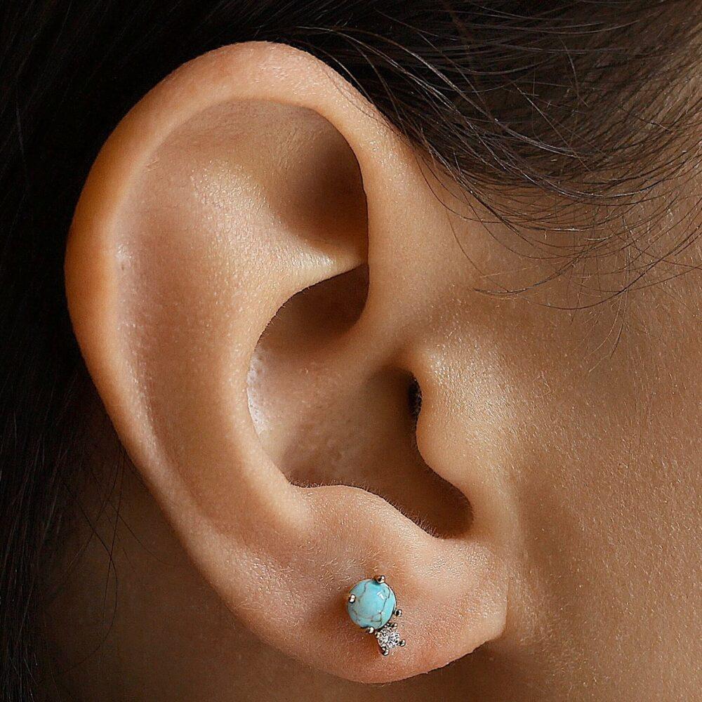 Turqoise circle earringh