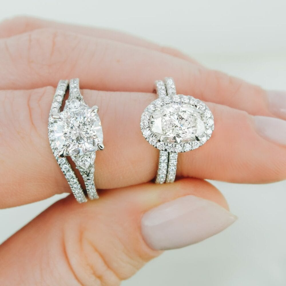 Two diamond rings side by side