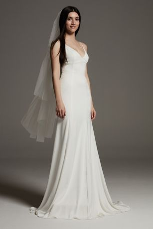 V-neck satin slip dress from White by Vera Wang collection