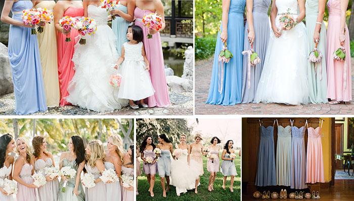 Various pastel bridesmaid dresses