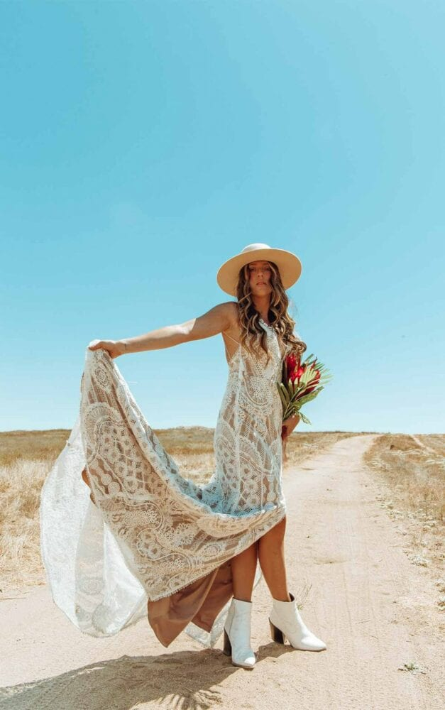 Vintage lace All Who Wander gown