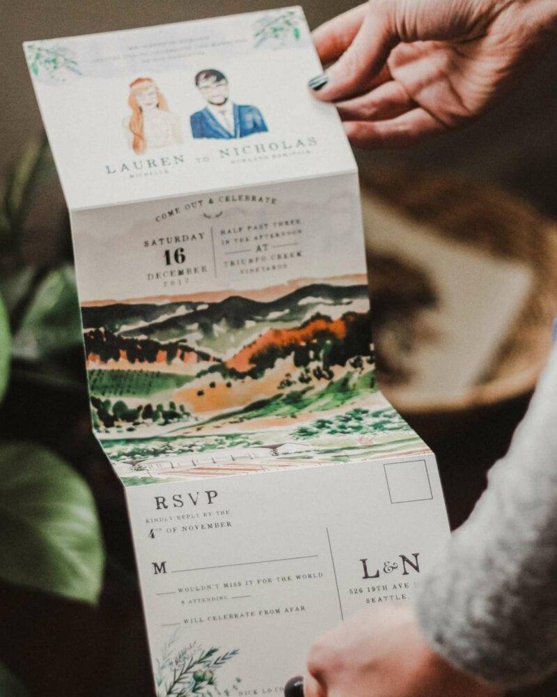 Watercolor fold-out invitation