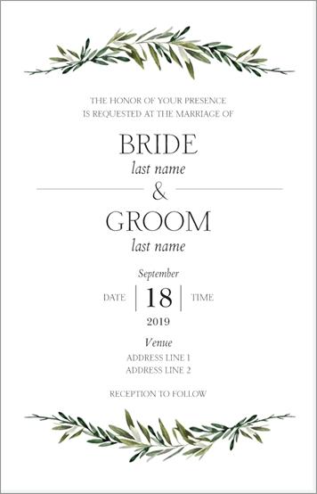 white and green wedding invitation