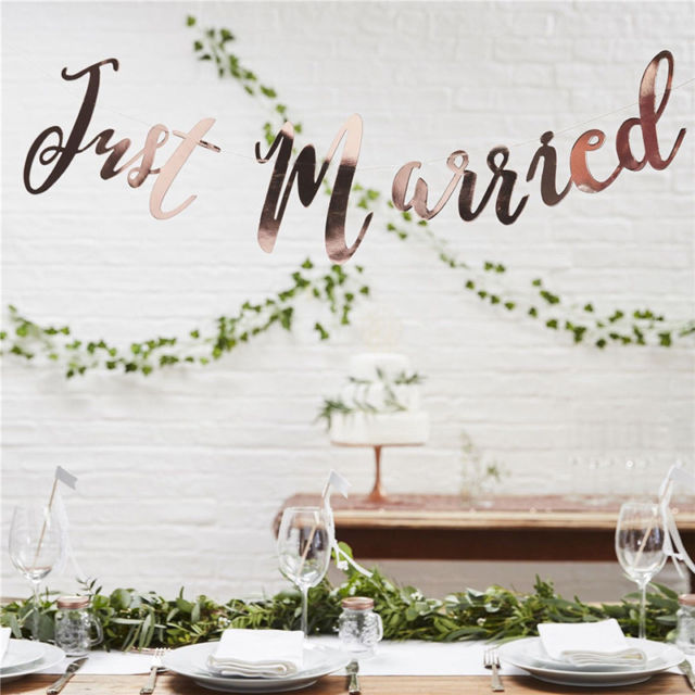 just married rose gold banner
