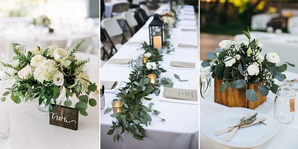 white flowers and greenery wedding