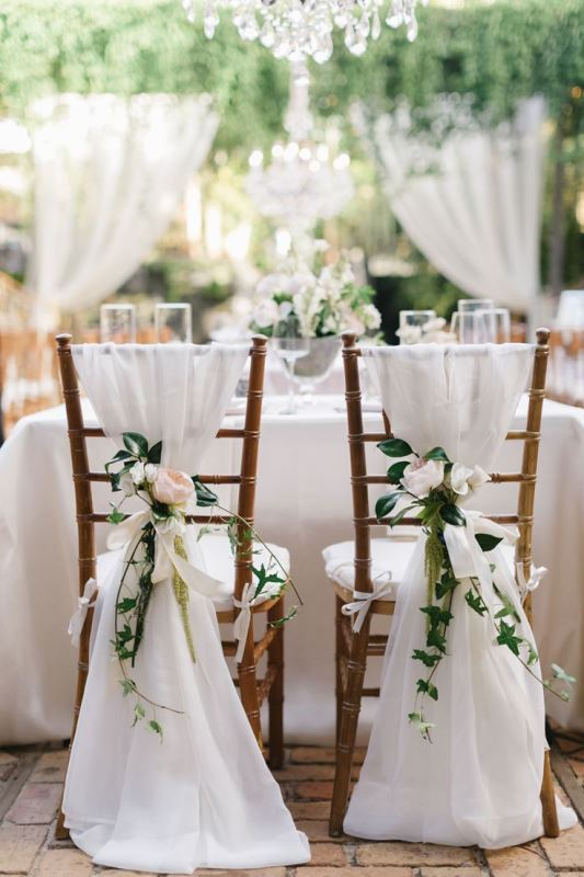 white and green wedding chairs
