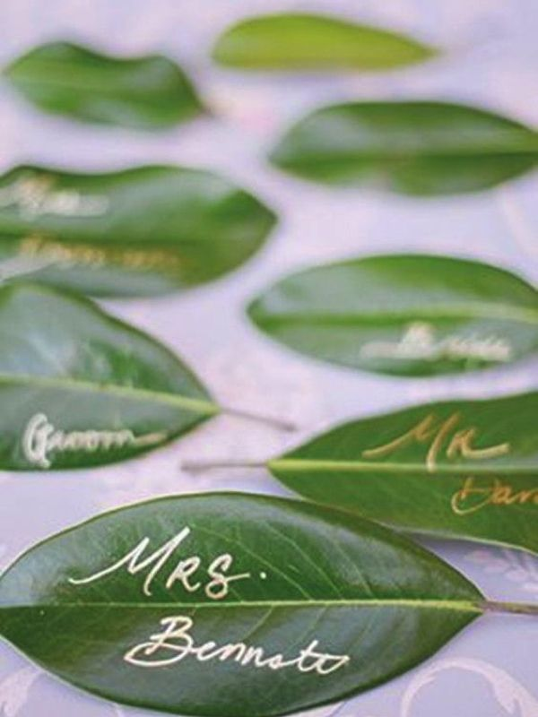 green leaf wedding place cards