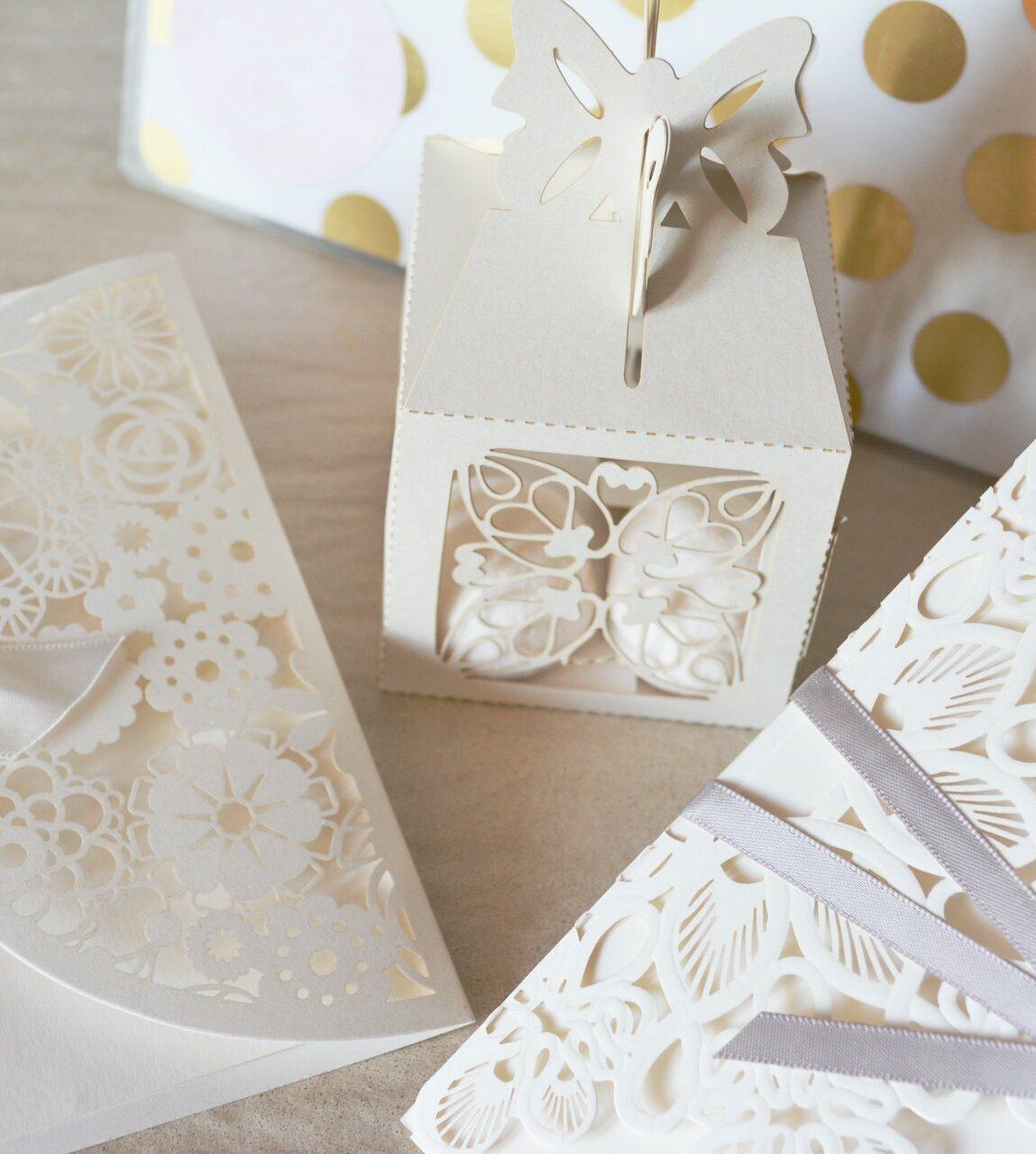 Wedding invitations on table
