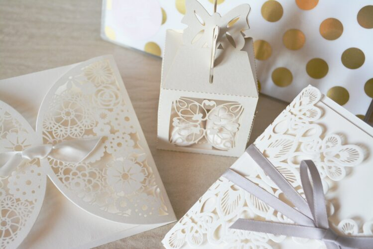 Wedding invitations on table