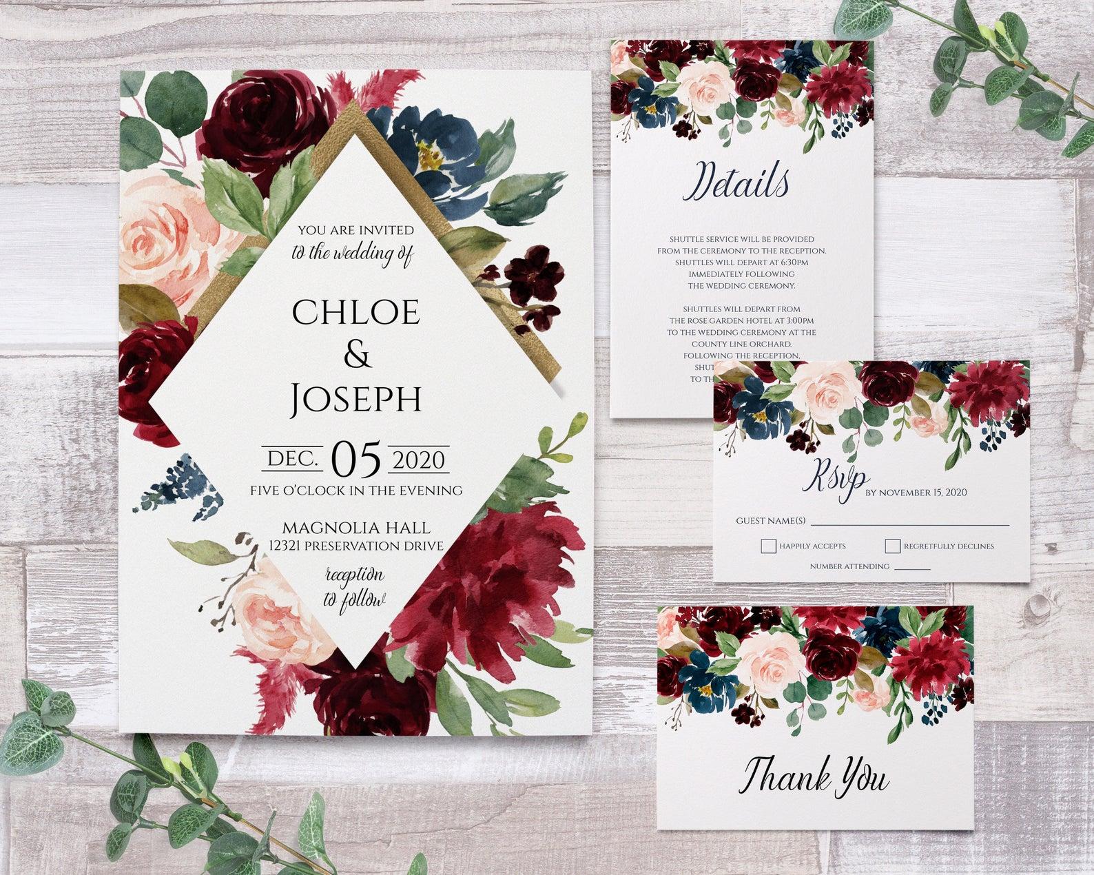 magnolia tree wedding invitations