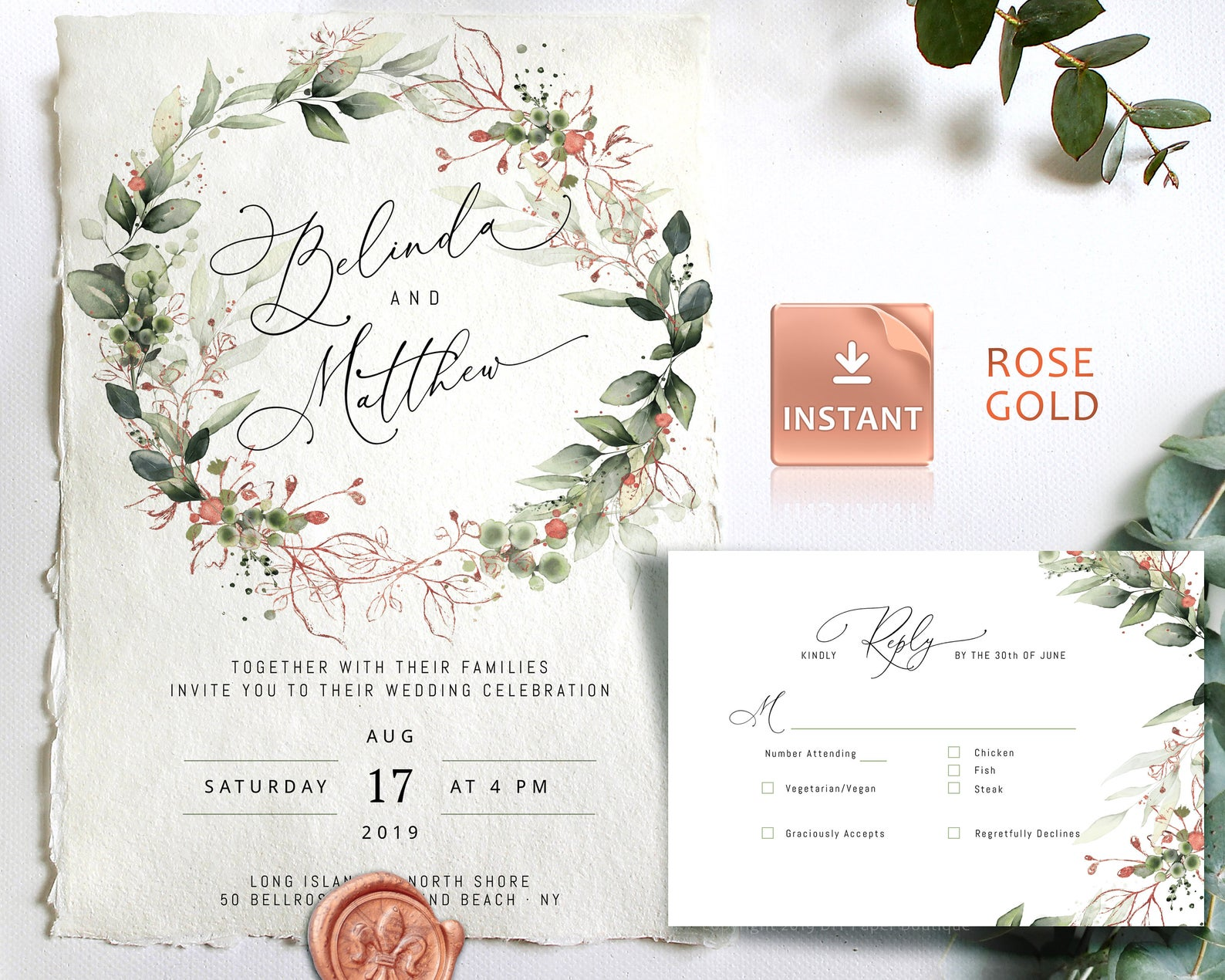 diy paper boutique wedding invitations