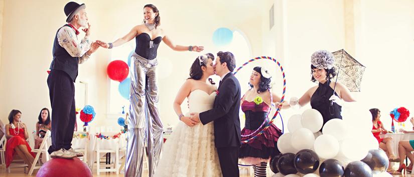 Circus wedding nontraditional wedding entertainment