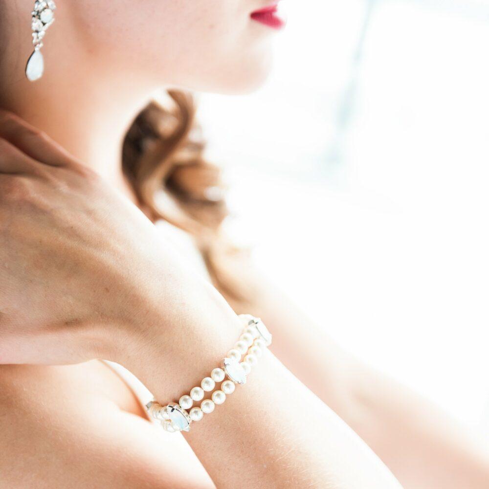 Crystal & Pearl Bridal Bracelet