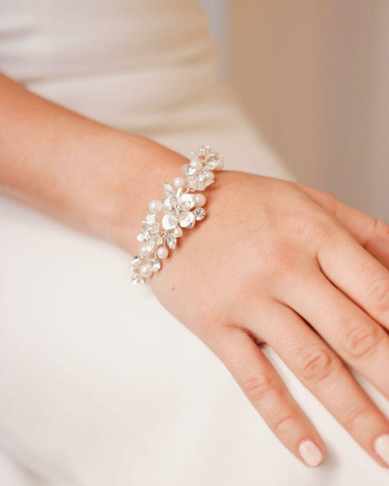 Floral & Pearl Wedding Bracelet