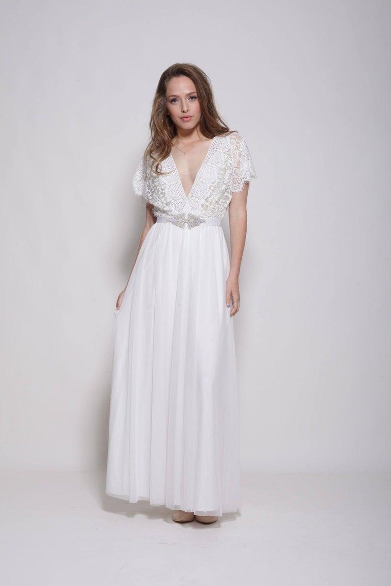 Bohemian Lace Wedding Gown from Barzelai