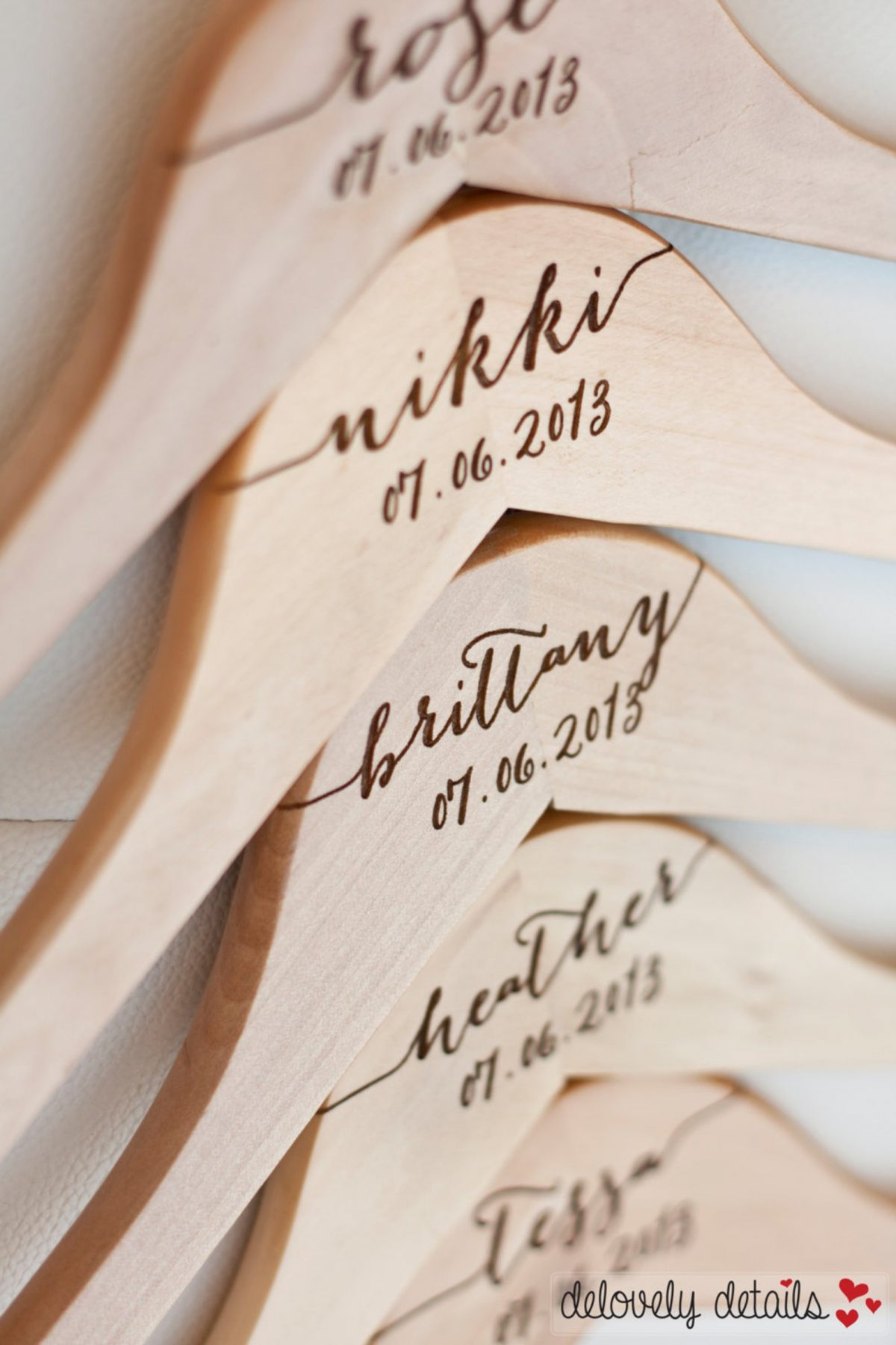 Personalized Wooden Hangers from Delovely Details