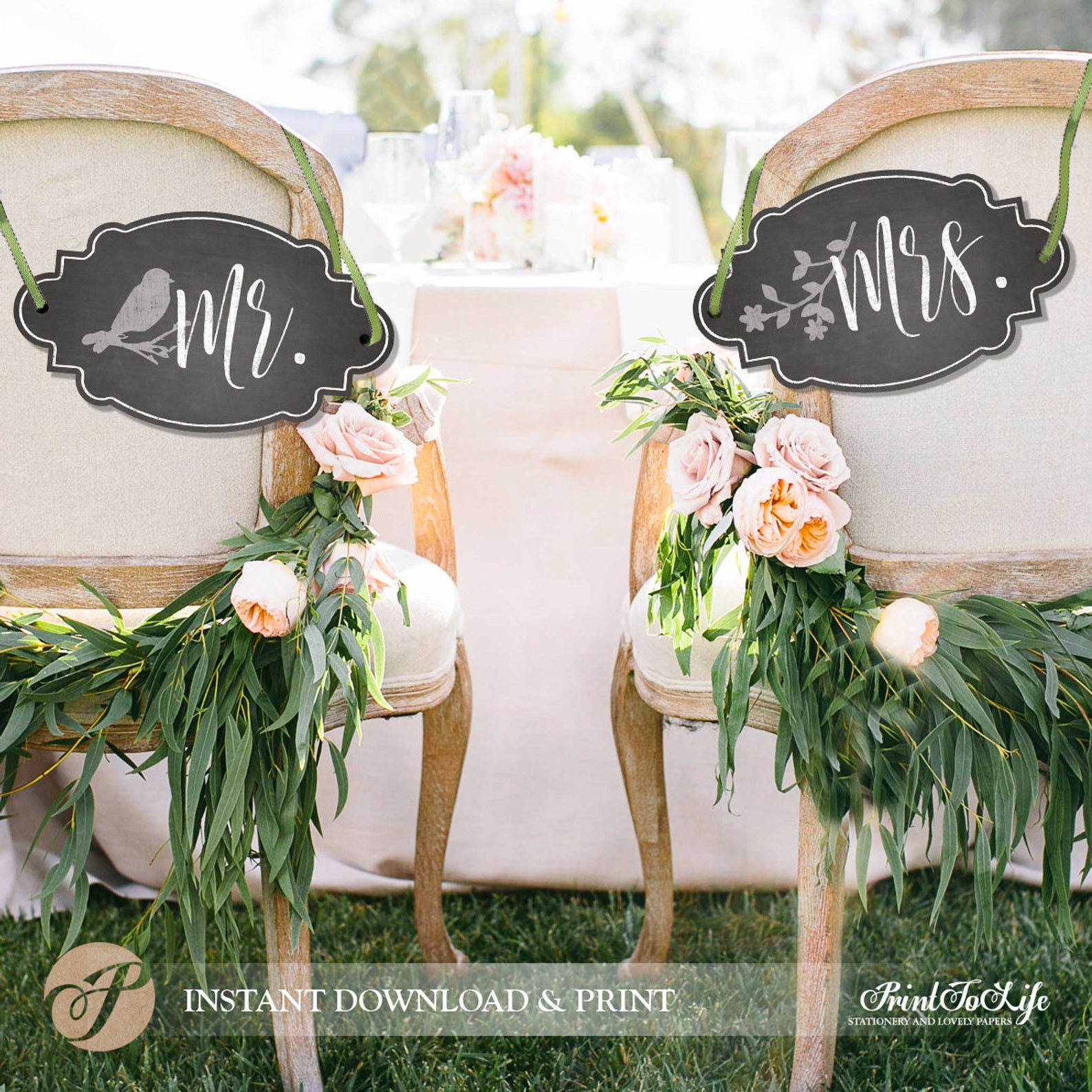 Chalkboard Wedding Chair Signs from Print to Life