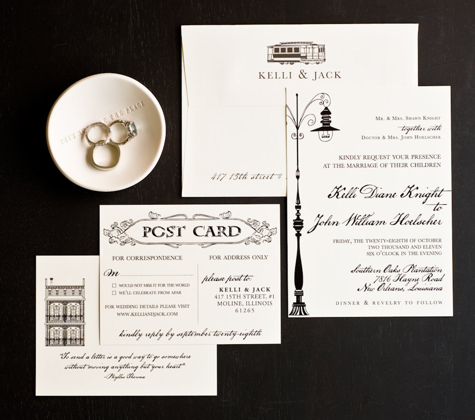 Vintage New Orleans Love Letter Wedding Invitation Collection from Seahorse Bend Press