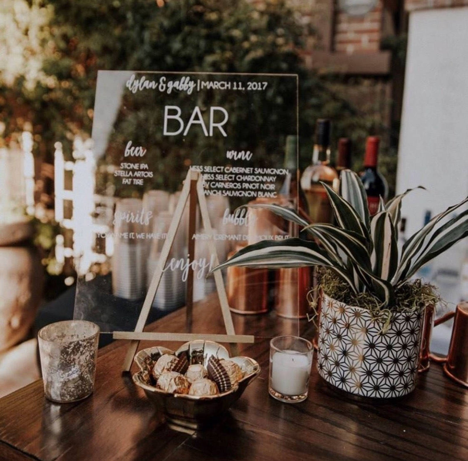 Acrylic Drink Menu Sign from Rich Design Co