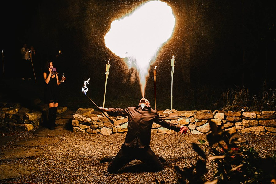 nontraditional wedding entertainment fire breather