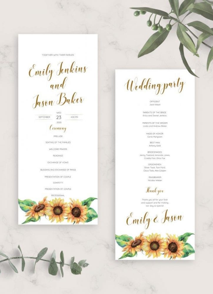 free sunflower wedding program template