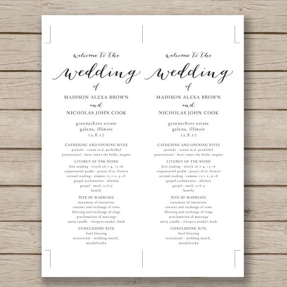 black and white free wedding program template