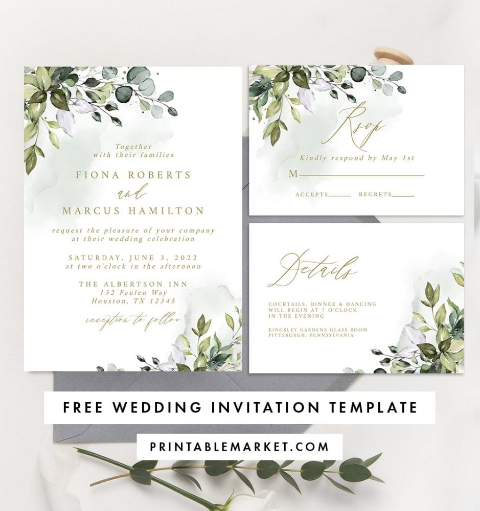 free eucalyptus wedding invitation set