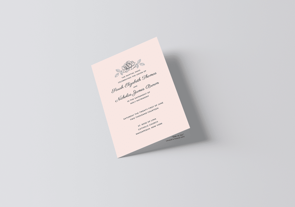 free catholic wedding program template