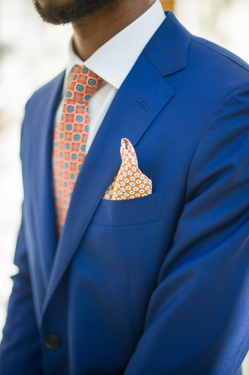 groom orange printed pocket square