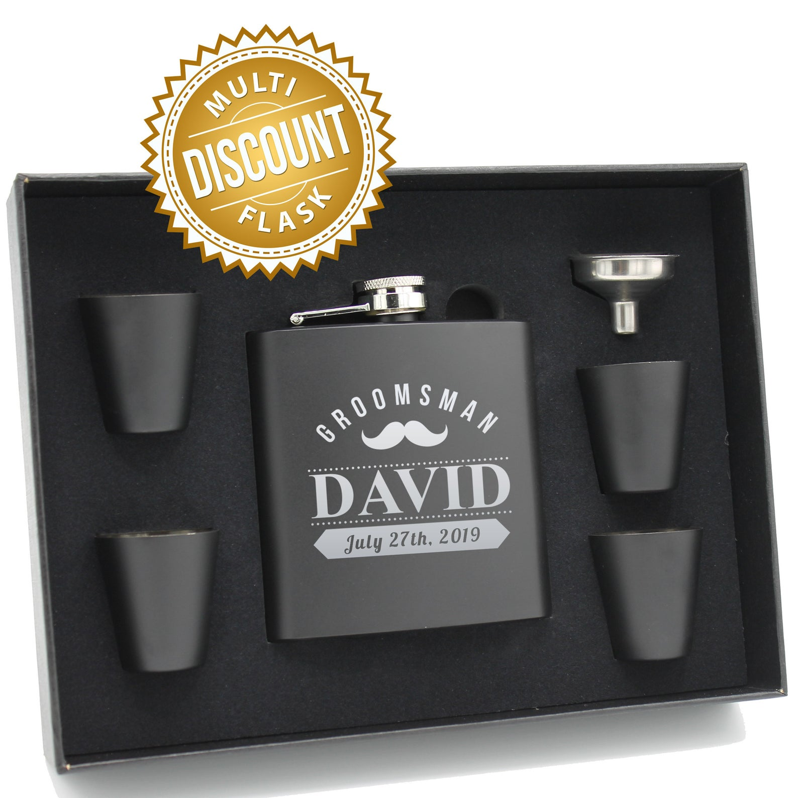 Personalized Flask Gift Set - Includes Shot Glasses