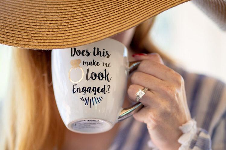 does this ring make me look engaged mug ring shot