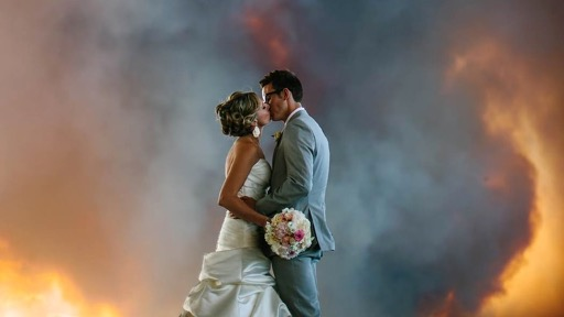 Fiery wedding photo of Michael Wolber & April Hartley