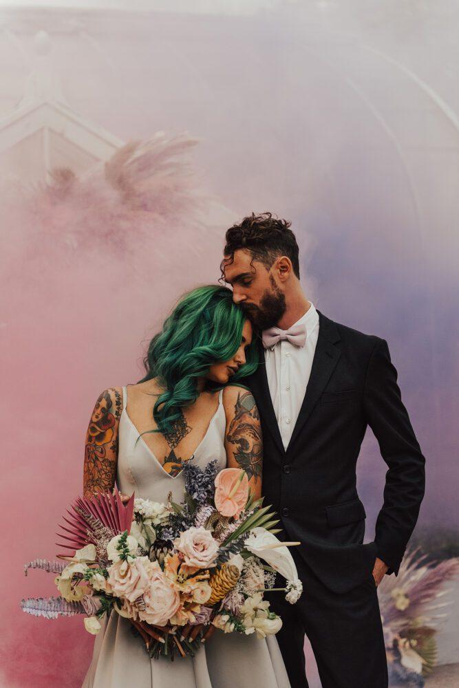 Ombre smoke bomb wedding photo