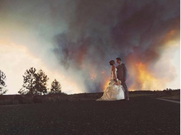 Smokey wedding photo of Michael Wolber & April Hartley
