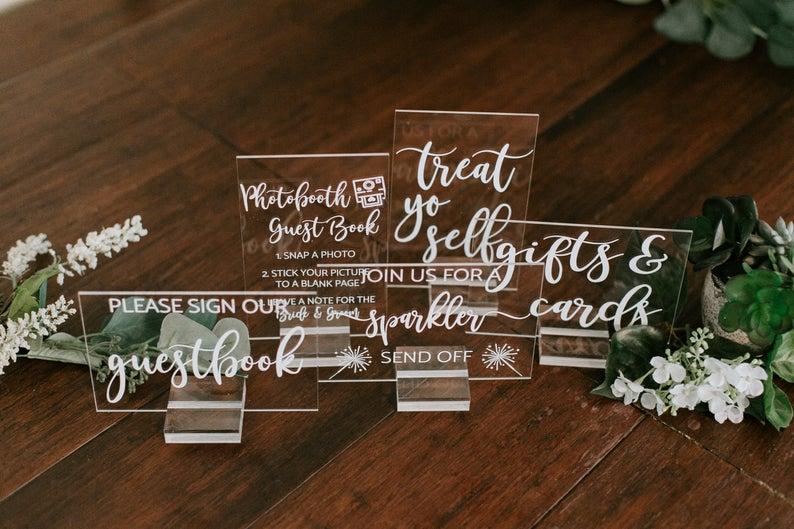 Acrylic Wedding Sign from PinkPosiesandPearls