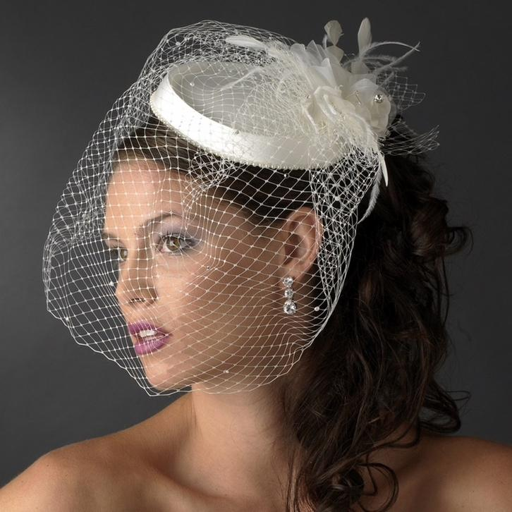 Bridal hat with birdcage veil