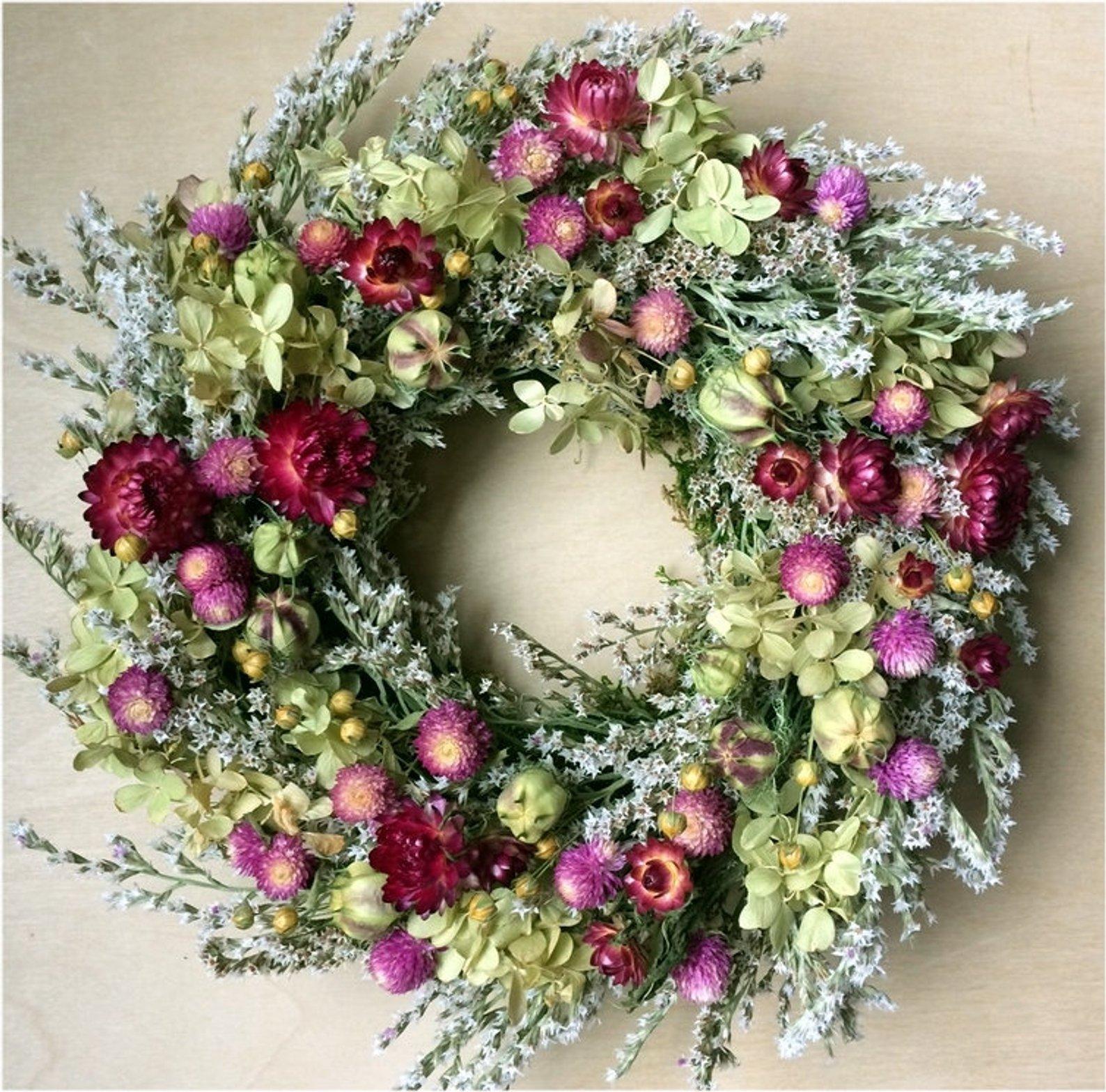 Pink Summer Dried Flower Wreath