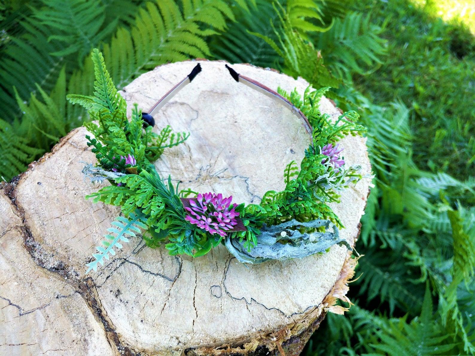 Lichen, Fern, and Clover Combination Headpiece