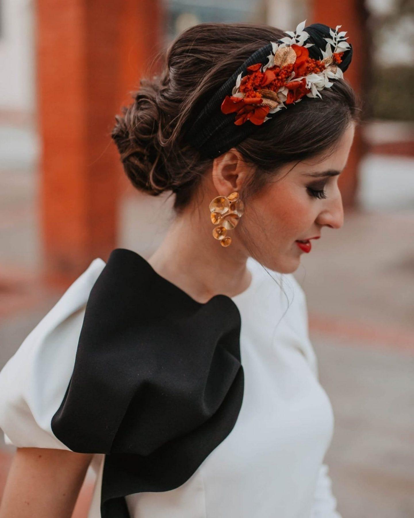 Black Turban Headband with Natural Florals
