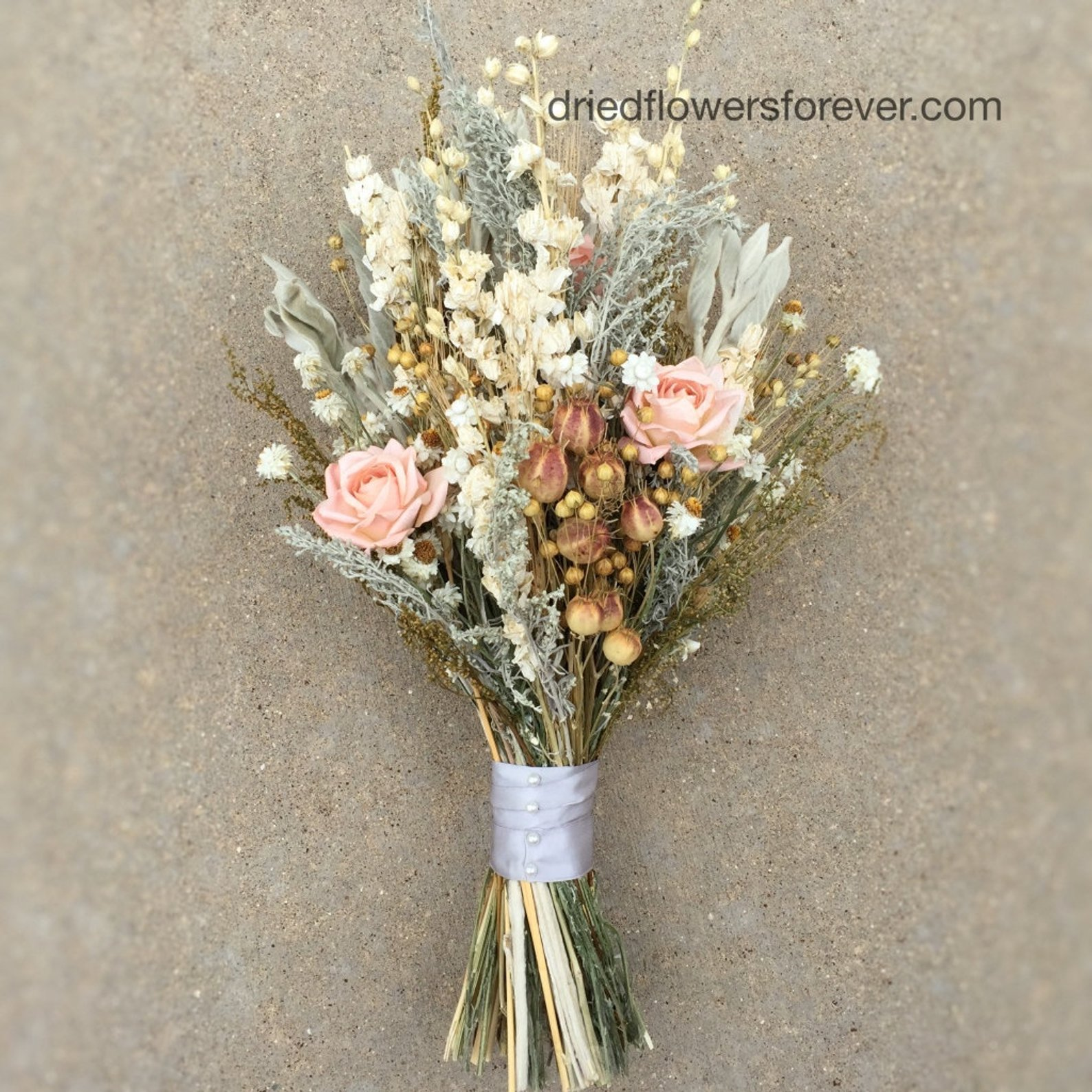Peach Dried Wedding Bouquet